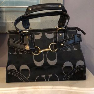 Coach signature carryall satchel EUC Black canvas